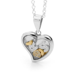 Image of Custom Letters Heart Pendant - Sterling Silver with 9ct Solid Yellow Gold Feet & Heart with Diamonds