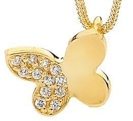 Image of Single Butterfly - Bracelet Charm in 9ct Solid Yellow Gold with Diamonds