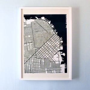 Image of Black Silk-Screen Printed Map of San Francisco