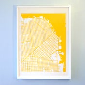 Image of Yellow Silk-Screen Printed Map of San Francisco