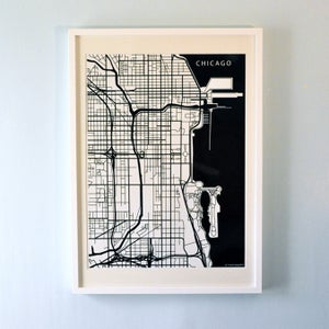 Image of Black Silk-Screen Printed Map of Chicago