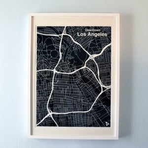 Image of Black Silk-Screen Printed Map of LA