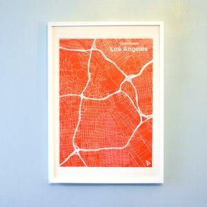 Image of Red Silk-Screen Printed Map of LA