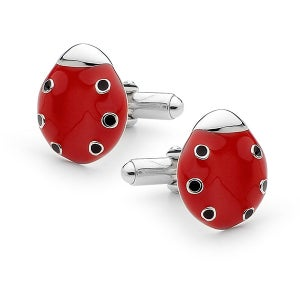 Image of Bears Of Hope Ladybird Cufflinks - Sterling Silver (Ceramic Colouring)