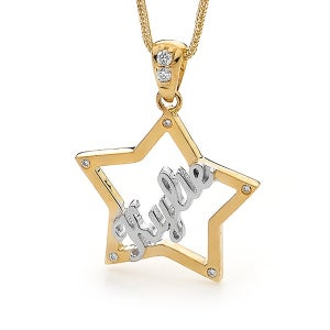 Image of Custom Star Name Pendant - 9ct Solid Yellow Gold with Diamonds