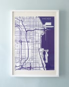 Image of Blue Silk-Screen Printed Map of Chicago