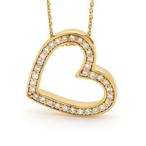 Image of Elegant Heart Pendant - In 9ct Yellow Gold Cubic Zirconia's