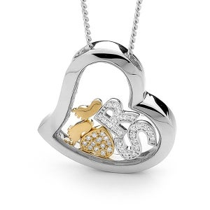 Image of Custom Letters Heart Pendant-Sterling Silver with 9ct Solid Gold Feet & Heart with Diamonds