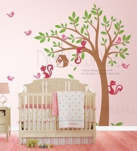Image of Swaying Tree Bird House with Squirrel Friends - 095 - Vinyl Sticker Wall Decal for Girl Boy