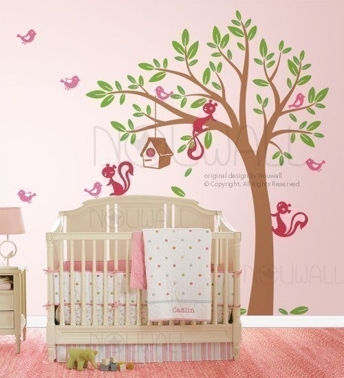 Swaying Tree Bird House With Squirrel Friends   095   Vinyl Sticker Wall  Decal For Girl Boy