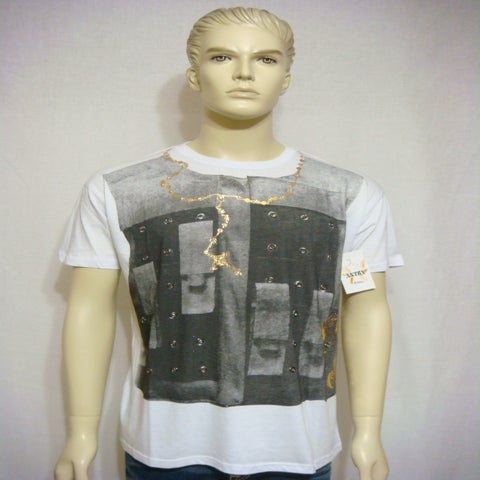 "Image of ANTRX clothing men ""pechera"" rhinestones Adiamantada Shirt White"