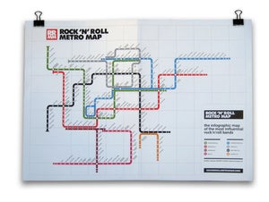 Image of Rock'n'Roll Metro Map (A2 Size)