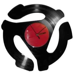 Image of 45 Adapter Clock made from recycled vinyl records.