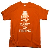Image of Keep Calm And Carry On Fishing (Red, Blue, Kahki)