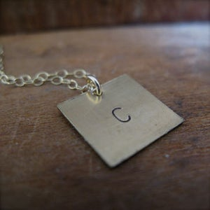 Image of personalized handstamped vintage brass plate necklaces