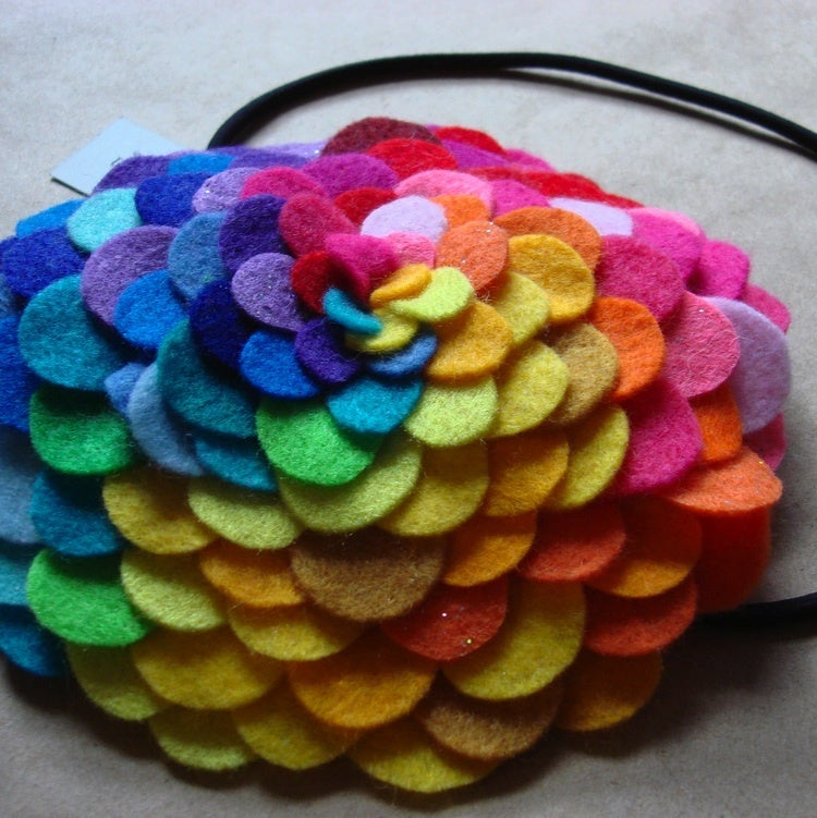 Image of giant rainbow lush petals headband // made-to-order
