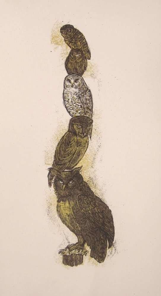 Image of 5 owl totem