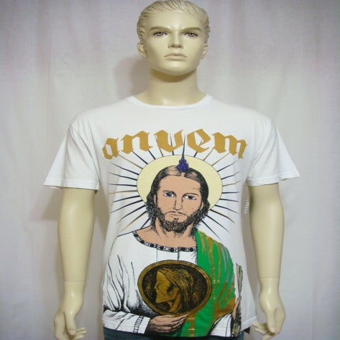 "Image of ANVEM clothing brand ""san judas"" men white shirt"
