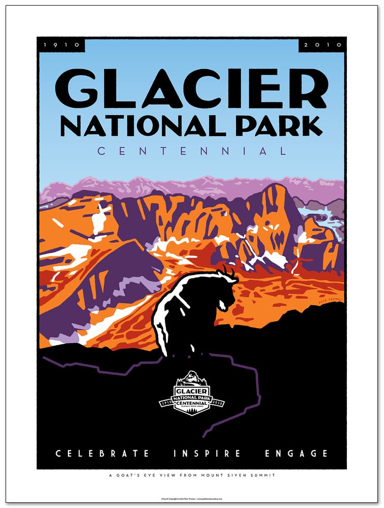 Image of Glacier National Park Centennial Poster - Goat's Eye View