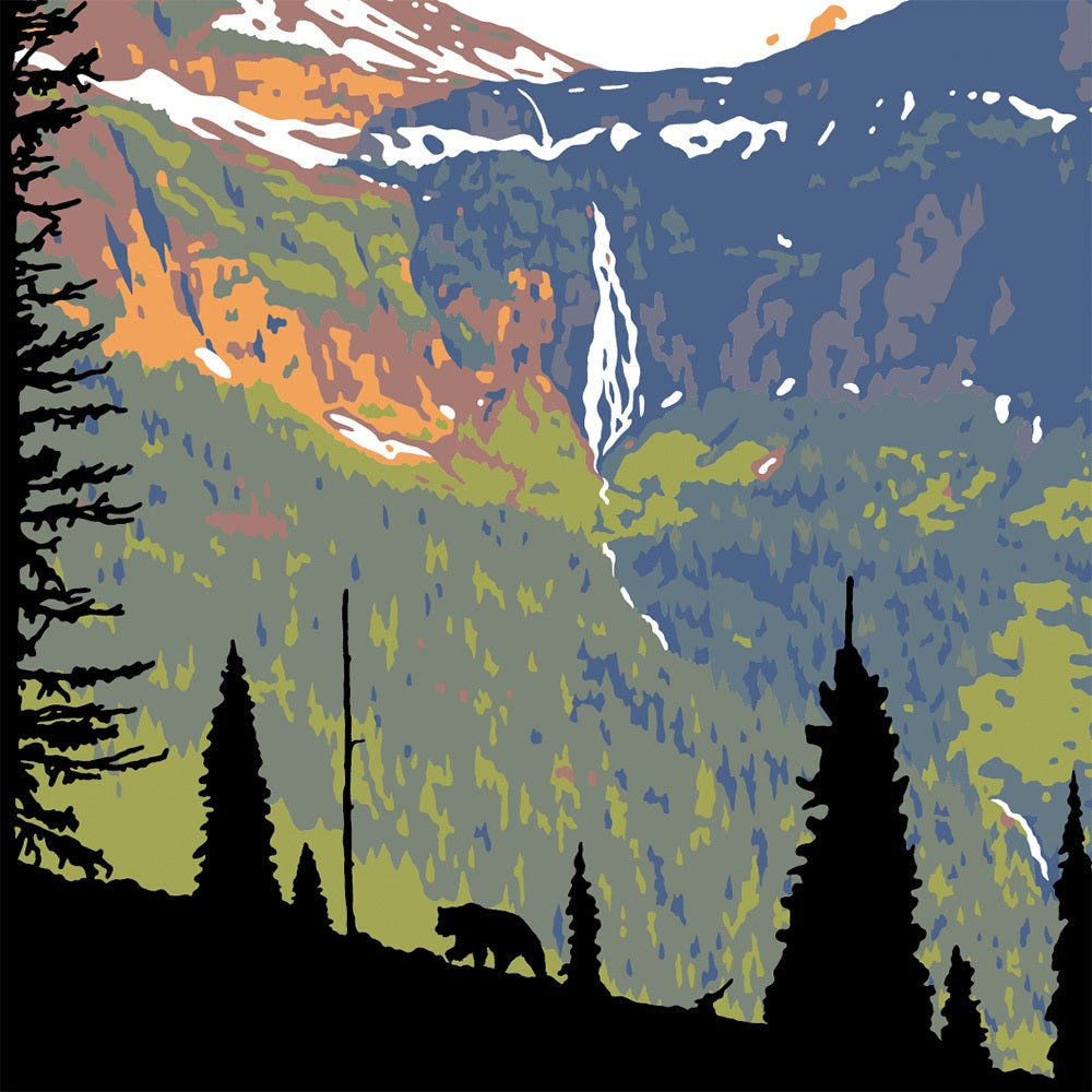 Image of Glacier National Park Poster - Birdwoman Falls