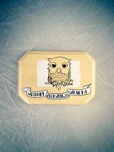 Image of A Wise Owl Tattoo - white on natural on a squared plaque