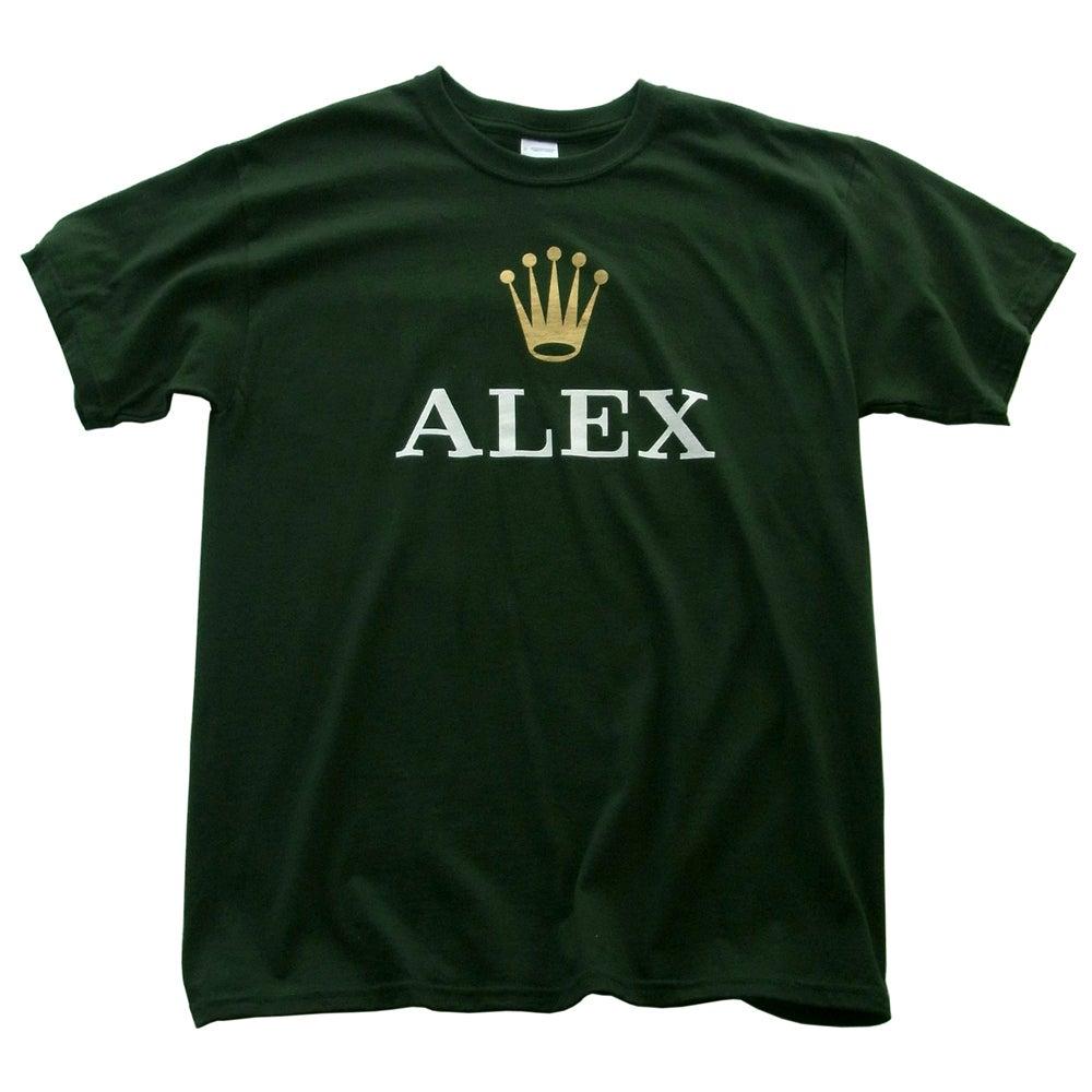 alex garnett � alex t shirt green white