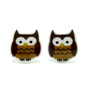 Image of Mari the Owl Earrings - Sterling Silver Posts