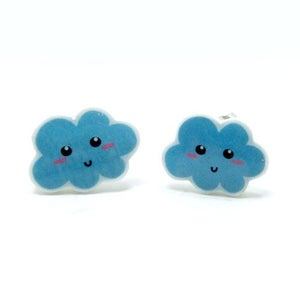 Image of Happy Blue Cloud Earrings - Sterling Silver Posts