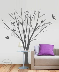 Image of Winter Tree with Birds (LARGE set) - Graphic Wall Decal - dd1004