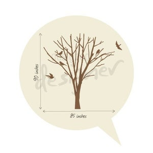 Winter Tree With Birds Large Set Graphic Wall Decal
