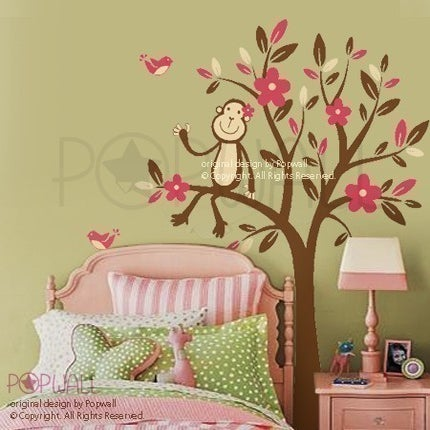monkey sitting on a flower tree 085 vinyl sticker wall decal for girl boy nursery removable. Black Bedroom Furniture Sets. Home Design Ideas