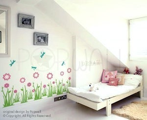 Image of Wall Decal Grass Land with Flowers and Dragonflies - 077
