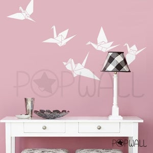 Image of Vinyl Wall Decal Sticker Art - 5 Origami Flying Birds Paper Cranes - 019