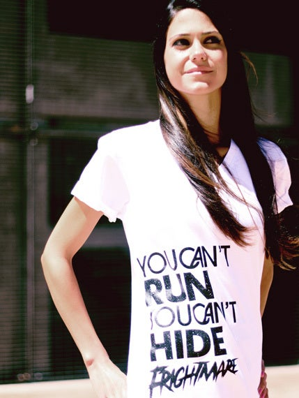 Image of YOU CAN'T RUN... - WHITE V-NECK ♀