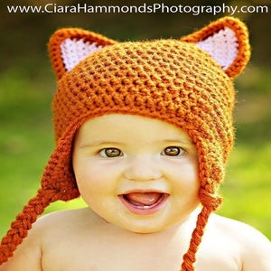 Image of Fox Earflap hat crochet pattern
