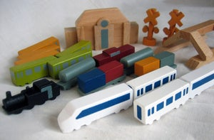Image of train station wooden blocks from muji