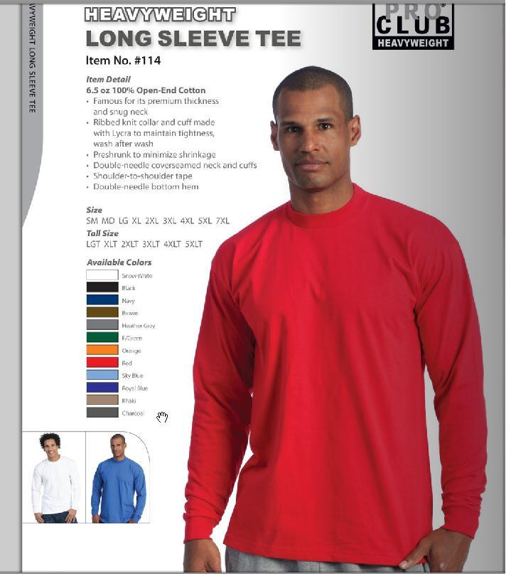 Image of Long Sleeve Tees-HEAVYWEIGHT PRO CLUB