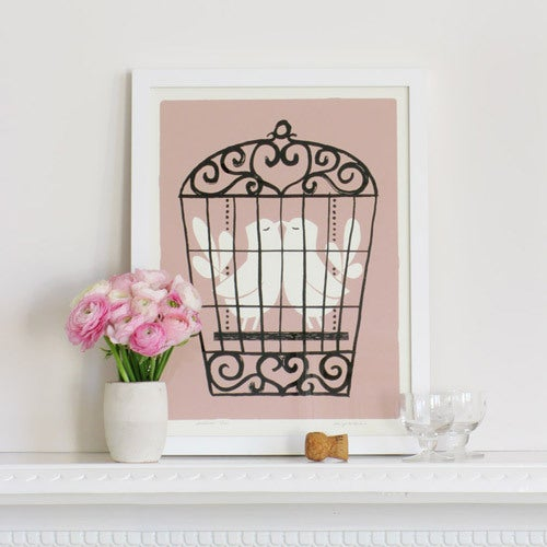 Image of Silkscreen print | Lovebirds, rose