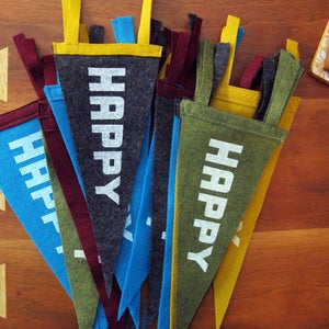 Image of happy felt pennant