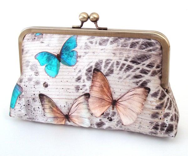 Morphos butterfly, luxury silk clutch purse - Red Ruby Rose