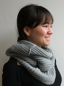 Image of wool hooded neck-warmer - grey