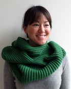 Image of wool hooded neck-warmer - green