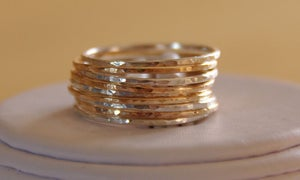 Image of SET OF 9 14K GOLD FILLED AND STERLING SILVER STACK/STACKABLE/STACKING RINGS sizes 4,5,6,7,8,9,10,11