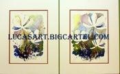 Image of Three White Flowers I & II Original Watercolor