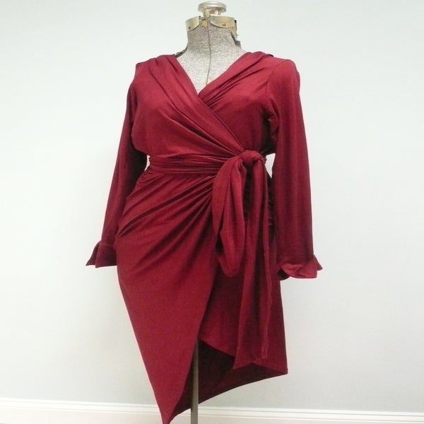 Image of MARIA SEVERYNA Burgundy Jersey Hooded Wrap Dress