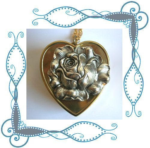 Image of Fill My Heart With Song - Silver Rose Musical Locket ~