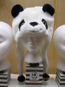 Image of Panda Hat with black pom poms