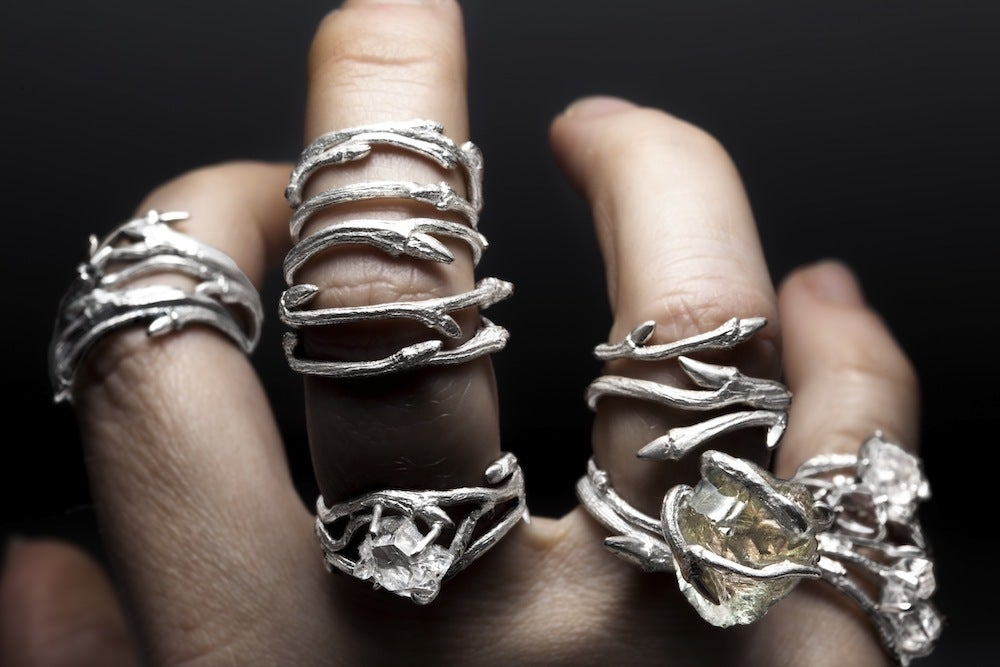 Image of Light Elvish Twine<br>Silver Twig Ring