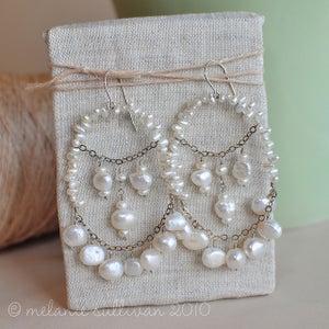 Image of Large Pearl Chandelier Earrings