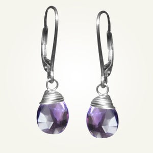 Image of Candy Drop Earrings with Amethyst, Sterling Silver